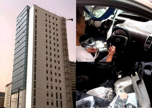 """""""Глобал хурд"""" компанийн захиалгаар баригдаж байгаа барилга дээрээс блок унаж, хүн гэмтжээ"""