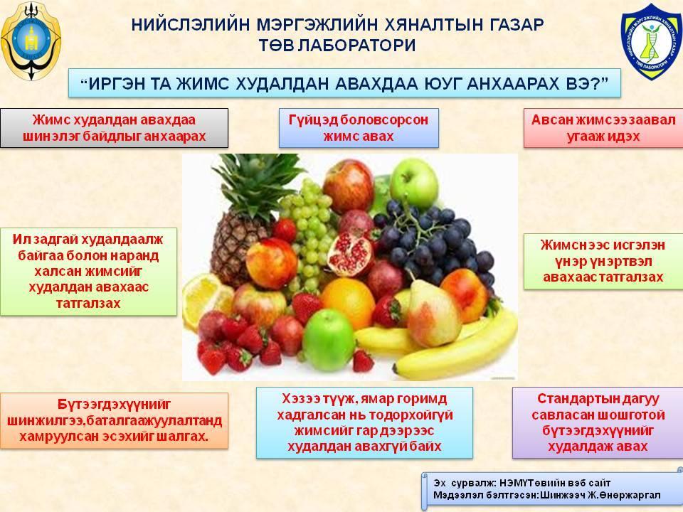 Иргэн та жимс худалдан авахдаа юун анхаарах вэ