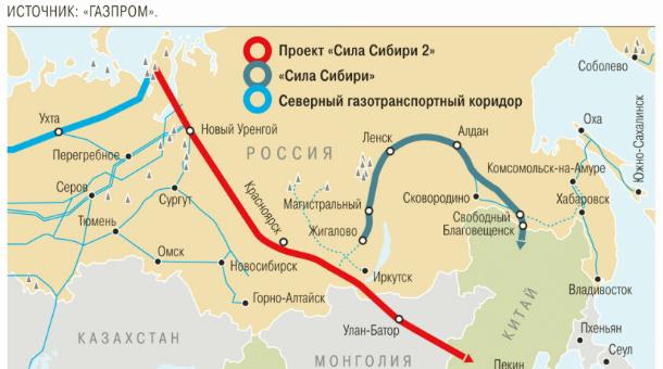 """""""Газпром"""" компани Монголоор дайруулах хийн хоолойн маршрутаа зураглан гаргажээ"""