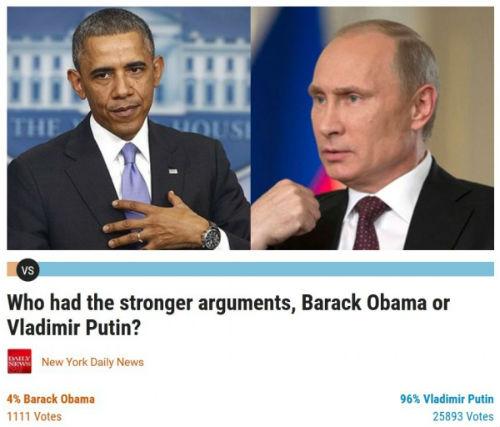Обама 4%, Путин 96%